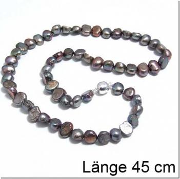 Braungraue Perlkette mit Magnetverschluss (300022)