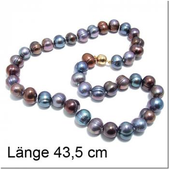 Braunblaue Perlkette mit verg. Magnetverschluss (300023)