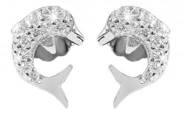 Ohrstecker Delphin mit Zirkoniabesatz Silber, rhodiniert (Art-Nr. 280038)