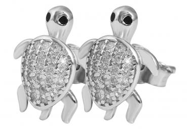 Ohrstecker Schildkröte mit Zirkonia aus Silber, rhodiniert (Art.-Nr.280042)